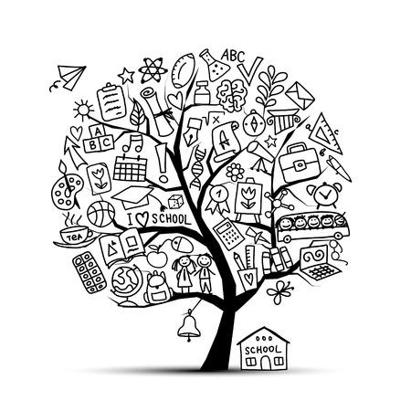 Terug naar school, kunstboom voor uw ontwerp