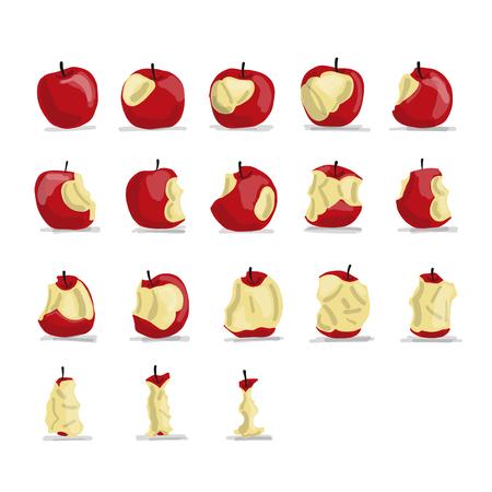 Etapas de comer manzana, dibujo para su diseño Foto de archivo - 84361679