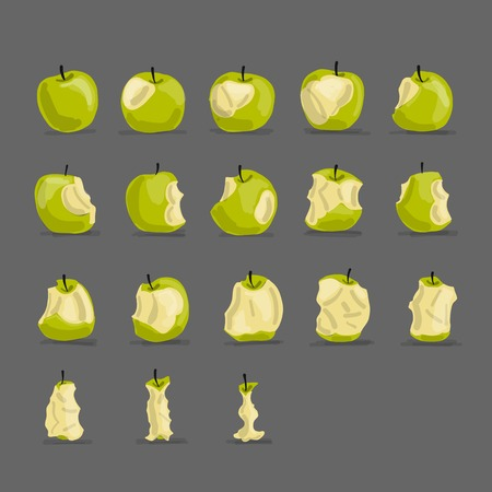 Stages of eating apple, sketch for your design