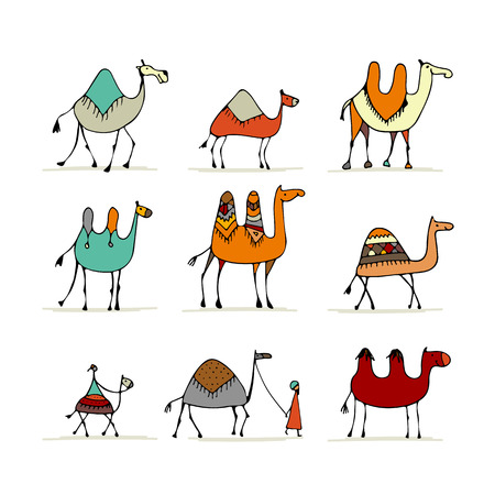 Camel set, sketch for your design 版權商用圖片 - 84406567