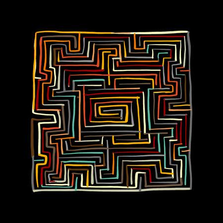カラフルな迷路広場。  イラスト・ベクター素材