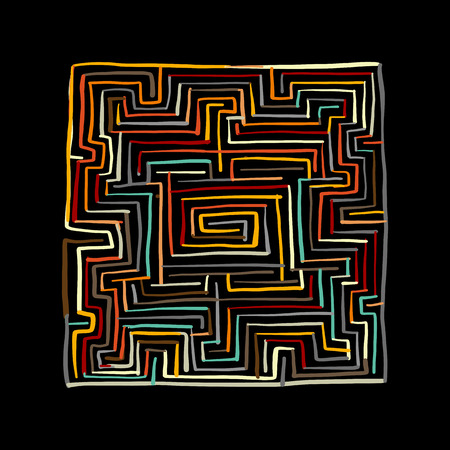 Colorful labyrinth square.
