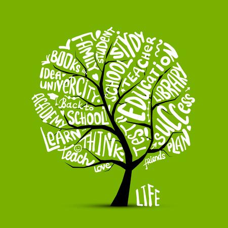 Back to school, art tree for your design Illustration