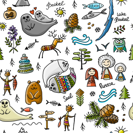Travel to Baikal, Russia. Seamless pattern for your design