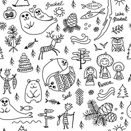 Travel to Baikal, Russia. Seamless pattern for your design Ilustração