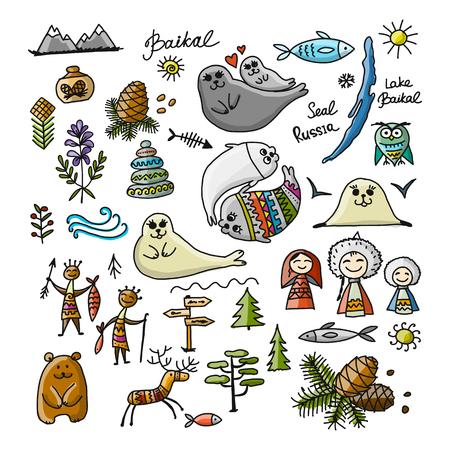 여행 아이콘, 바이칼, 러시아를 설정합니다. 디자인을위한 스케치