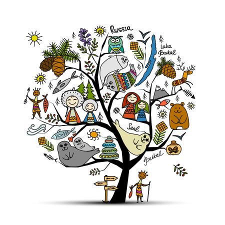 Concept d'arbre Baïkal, Russie. Esquisse pour votre conception Banque d'images - 84363399