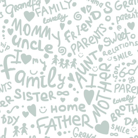 Familia. patrón transparente para su diseño Ilustración de vector