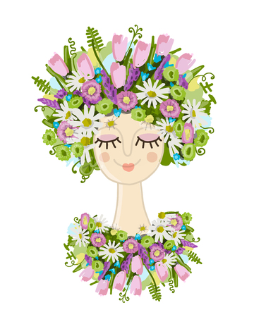 Female portrait with floral hairstyle for your design.