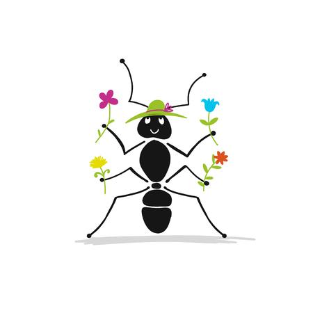 Funny hormiga con flores, boceto de su diseño. Foto de archivo - 85012453