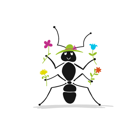 Funny ant with flowers, sketch for your design. Illustration