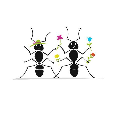 Funny ants couple, sketch for your design. Ilustração