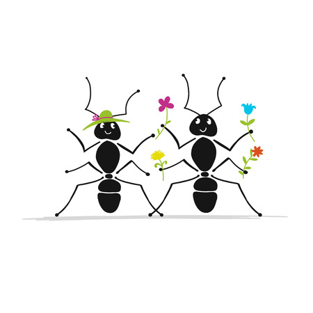 Funny ants couple, sketch for your design. Illustration