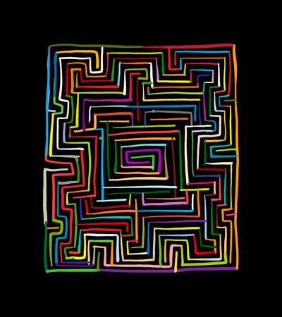 Cuadrado del laberinto, bosquejo para su diseño Ilustración de vector