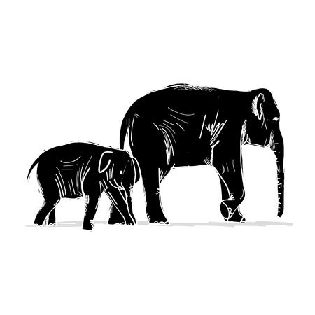 象の子供と母親をあなたのデザイン スケッチします。