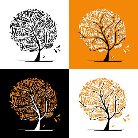 Herfstboom voor uw ontwerp Stock Illustratie