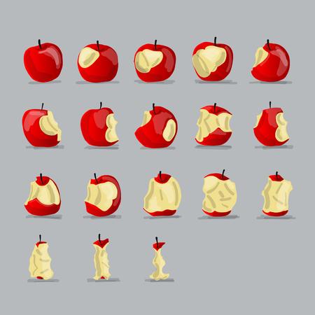 Etapas de comer manzana, dibujo para su diseño Foto de archivo - 84999150