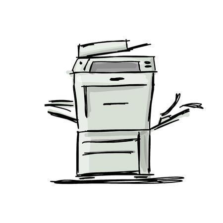 Office Multifunktionsdrucker, Skizze für Ihr Design Standard-Bild - 84999152