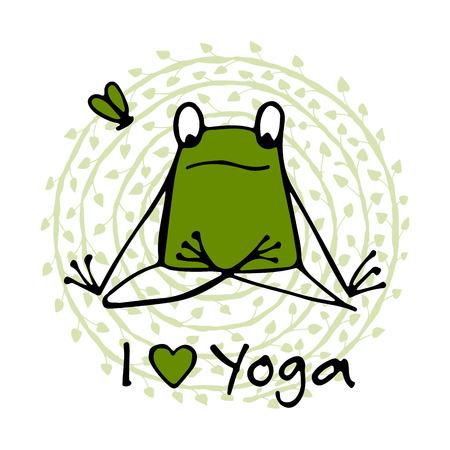 Funny yoga frog, sketch for your design