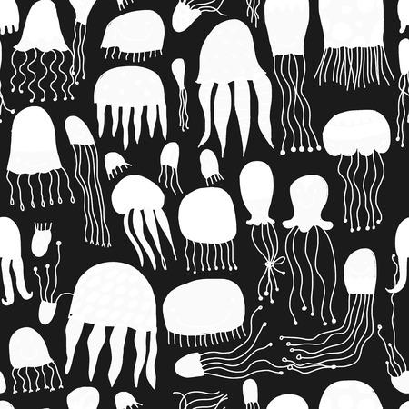 Grappige kwallen, naadloos patroon voor uw ontwerp Stock Illustratie