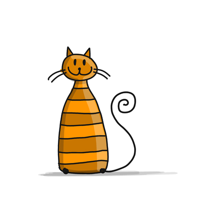 Cute striped cat, sketch for your design