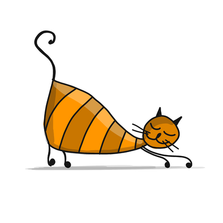 Leuke gestreepte kat, schets voor uw ontwerp Stock Illustratie