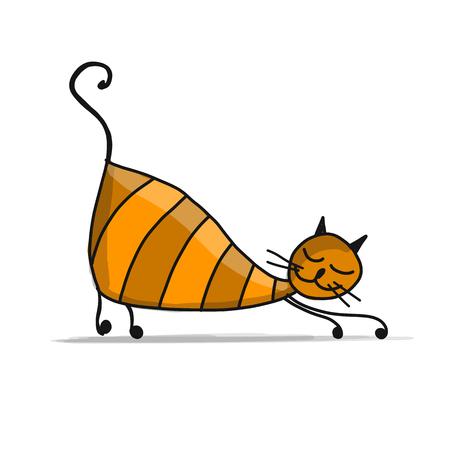 Nette gestreifte Katze, Skizze für Ihr Design Standard-Bild - 84999740