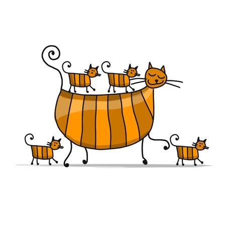 Red cats family, sketch for your design Ilustração