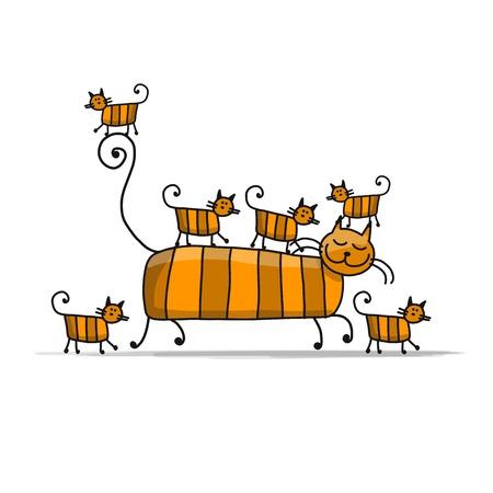 Famiglia di gatti rossi, schizzo per il tuo design Archivio Fotografico - 84999755