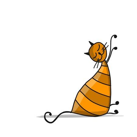 かわいい縞模様の猫、あなたの設計のためのスケッチ