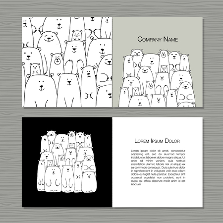 Conception des cartes de voeux, famille des ours polaires. Banque d'images - 85171476