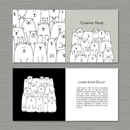 Greeting cards design, polar bears family.