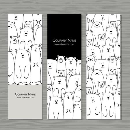 인사말 카드 디자인, 북극곰 가족입니다.
