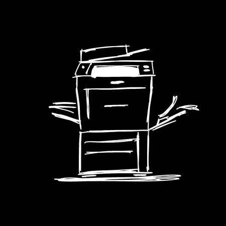 Office Multifunktionsdrucker, Skizze für Ihr Design. Standard-Bild - 85171537