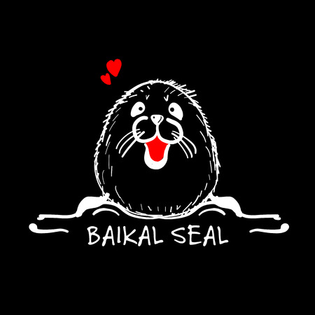 Baikal seal, sketch for your design. 向量圖像
