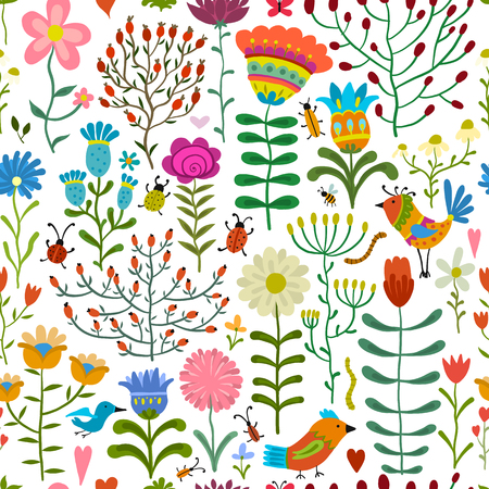 Floral seamless pattern, sketch for your design.