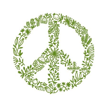 Signe pacifique floral, croquis pour votre conception. Vecteurs