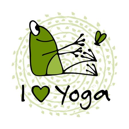 Divertente yoga rana, schizzo per il tuo design. Archivio Fotografico - 85171614