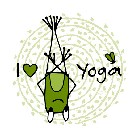 Funny yoga frog, sketch for your design. Illustration