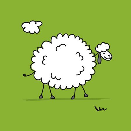 Funny sheep, sketch for your design. Illustration