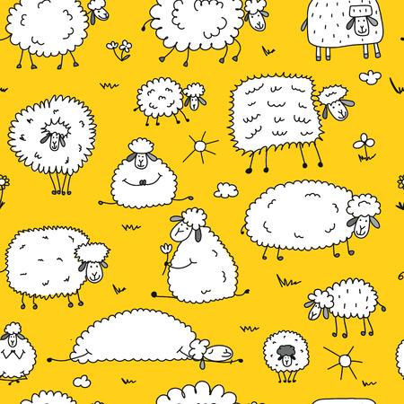 あなたの設計のためのシームレスなパターンの羊の群れ。