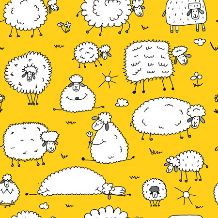 Flock of sheep, seamless pattern for your design.