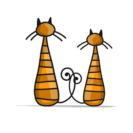 Leuke gestreepte katten, schets voor uw ontwerp. Stock Illustratie