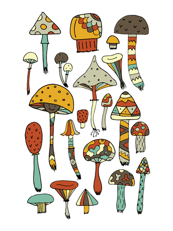 Art mushrooms set, sketch for your design.