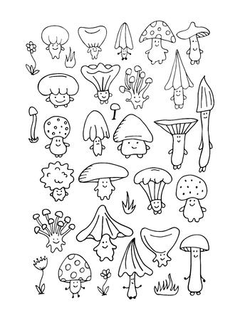 미소 버섯, 디자인을위한 스케치합니다.