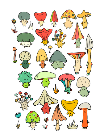 Smiling mushrooms, sketch for your design.