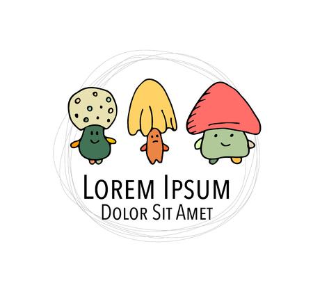 Lächelnde Pilze, Skizze für Ihr Design. Standard-Bild - 85275011