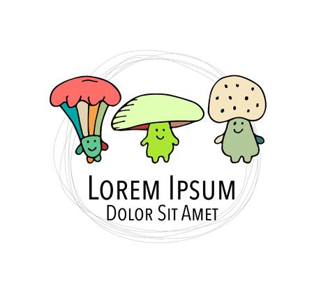 Lächelnde Pilze, Skizze für Ihr Design. Standard-Bild - 85275031