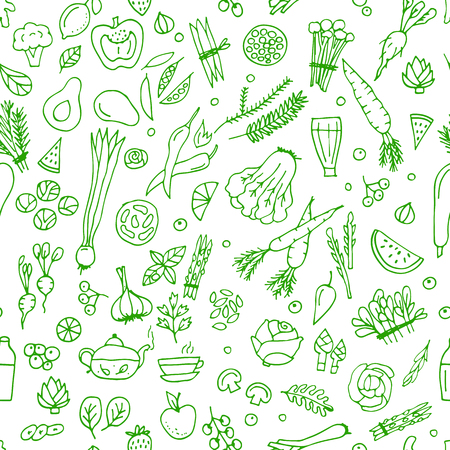 Green vegetables, detox. Seamless pattern design.