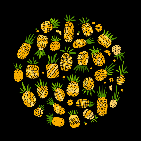 Pineapple set, sketch for your design.